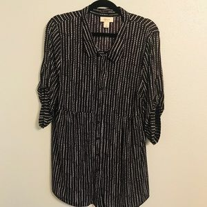 Style & Co Button Up Sheer Tunic